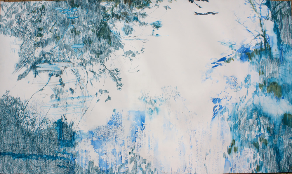 River Drawings VI Emma Louise Pratt Pencil and watercolour on paper 120 x 90 cm approx.