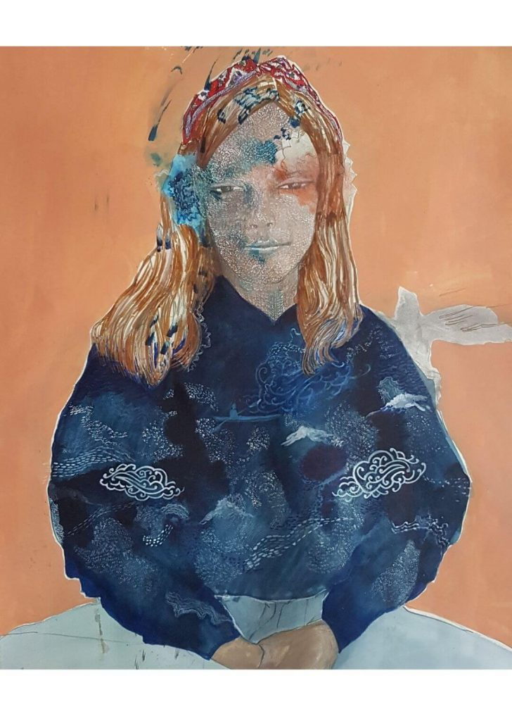Clara and the reflecting night Emma Louise Pratt ink watercolour and pencil on watercolour paper 2020