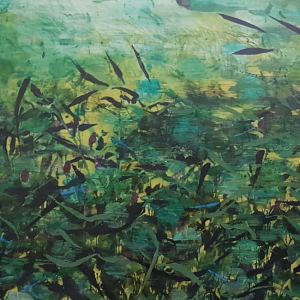 River Series_I Blue Damselfly Days Emma Louise Pratt_Ink and acrylic on canvas_ 127 x 72cm 2020