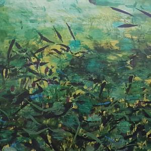 River Series_I Blue Damselfly Days Emma Louise Pratt_Ink and acrylic on canvas_ 127 x 72cm 2020