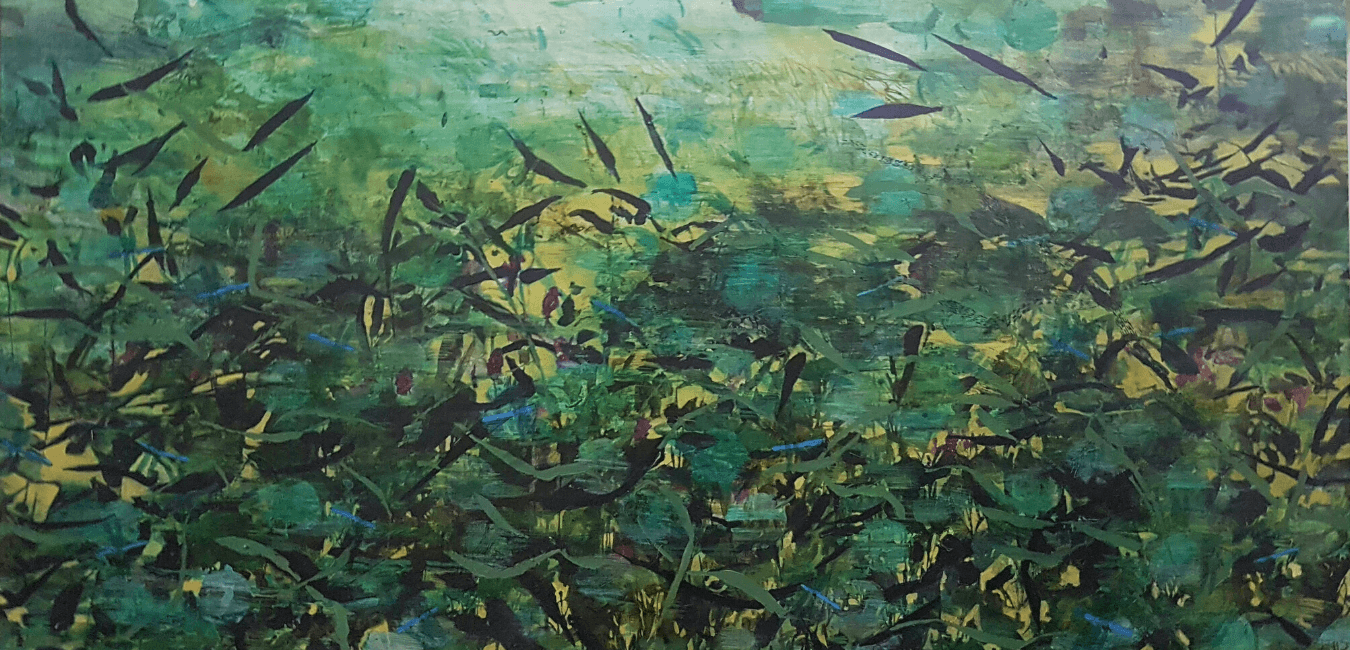 Detail of River Series I: Blue Damselfly Days Emma Louise Pratt, Ink and acrylic on canvas, 127 x 72 cm 2020. Sold