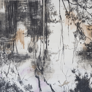 River with Hanging Rope Emma Louise Pratt charcoal and pencil on watercolour paper 127 x 72cm 2019