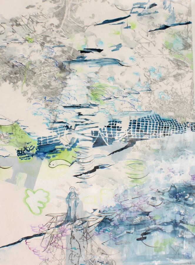 The Ocean Garden with Levitating Saint and Seal. Emma Louise Pratt 137cm x 84cm linen. 2017