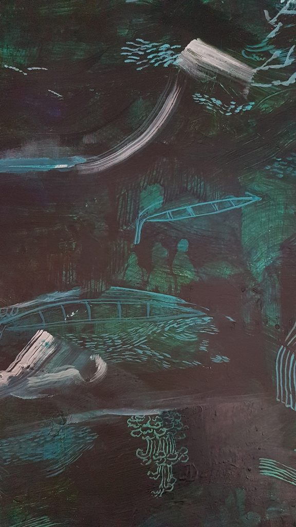 Detail of Phosphorescence in the Bay, by Emma Louise Pratt 2020 127 x 127 acrylic ink paper on canvas