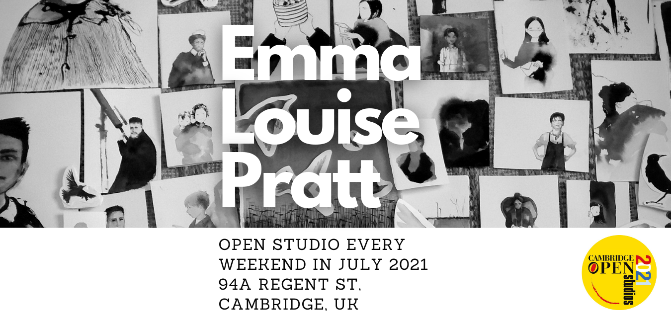 Cambridge Open Studios 2021 Emma Louise Pratt, ink works on paper installation and other paintings